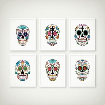Gothic Style Kids Room Decor Colorful Sugar Skulls Canvas Art Painting Wall Picture Nordic Decoration Home Posters and Prints