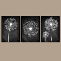 DANDELION Wall Art Prints Flower Artwork Black White Custom Colors Grunge Background Prints Bedroom Wall Art Bathroom Decor Dorm Set of 3