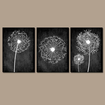 Dandelion Wall Art Prints Flower Artwork Black White Custom Colors Grunge Background Bedroom