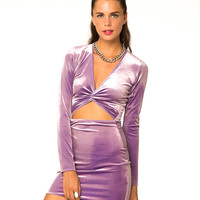 Motel Kim Twist Bodycon Dress in Lilac Velvet