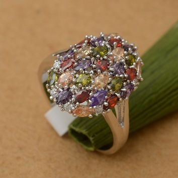 Multicolor Amethyst Garnet Topaz Sterling Silver Ring