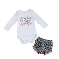 "Baby Girl ""Grandma was here"" Long Sleeve Top & Ruffle Shorts"