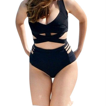 Ladies Sexy Bathing Suit Plus Size High Waist Push Up Bra Swimsuit