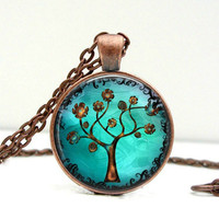 Copper Tree Necklace Glass Picture Pendant Photo by Lizabettas