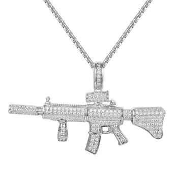 Men's Ak-47 Assault Gun Rifle Sterling Silver Pendant
