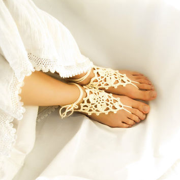 Ivory Barefoot Sandals, Crochet Cream Beach Sandles, Wedding Anklet Jewelry, Nude Shoes, Gift for Her, Victorian Lace Hippie Steampunk Yoga