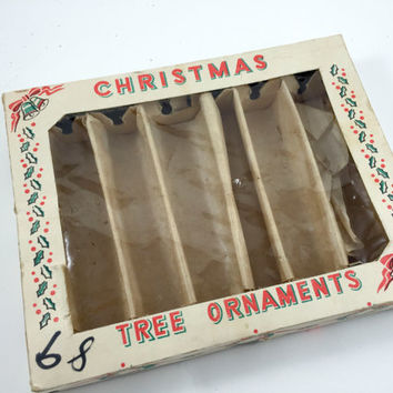 Vintage Icicle Ornaments Box Only Christmas Gift Box Christmas Storage Box Christmas Ornament Storage Christmas Bells Ephemera Paper Box