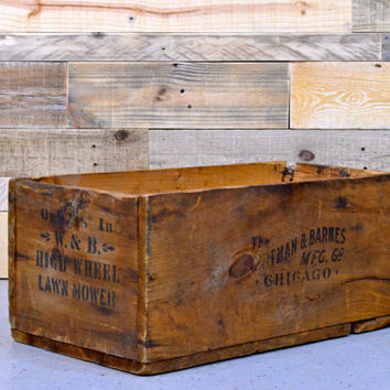 Vintage Wood Crate, Large Wooden Crate, Chicago Crate, Wooden Storage Crate