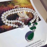 Women Jade Pei necklace With Pearl 925 silver buckle