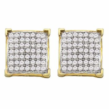10kt Yellow Gold Women's Round Diamond Square Cluster Screwback Earrings 1-3 Cttw - FREE Shipping (USA/CAN)