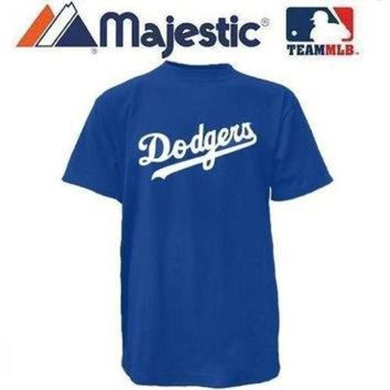 New ADULT size Med MLB Los Angeles DODGERS Majestic T-Shirt Tee Jersey Crewneck Replic
