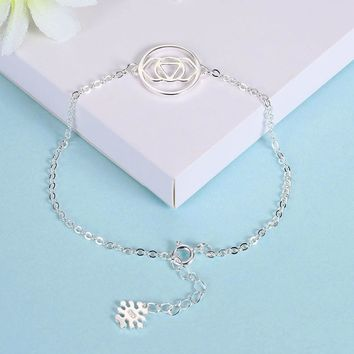 S925 Sterling Silver Ladies Simple Fashion Round Jewelry Bracelet Jewelry