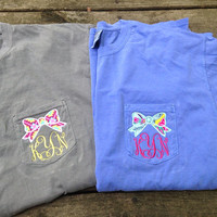 COMFORT COLORS Personalized Monogrammed Bow Applique Pocket T-shirts