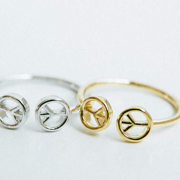 Peace symbol ring, adjustable double peace ring, 60's peace ring, modern peace ring, minimalist peace ring, cute peace symbol ring