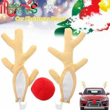 Lovely Antlers Reindeer Ears Red Nose Car Vehicle Costume