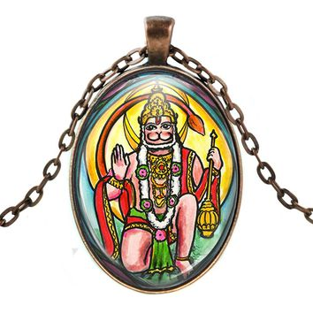 Lord Hanuman Humanitarian Evolved Path Talisman with Chain Necklace