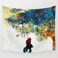 Colorful Landscape Art - The Dreaming Tree - By Sharon Cummings Wall Tapestry by Sharon Cummings
