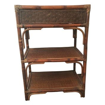 Pre-owned Vintage Rattan & Bamboo Etagere