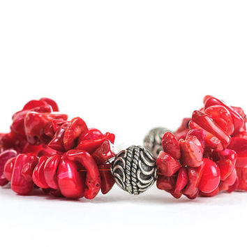 Red Autumn Fashion Chunky Beaded Bracelet Red Coral Jewelry Gift Idea For Her
