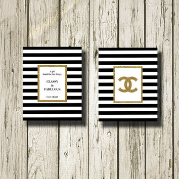 Coco Chanel And Chanel Symbol Gold Glitter Print Black And White Stripe Printable Instant Download Print