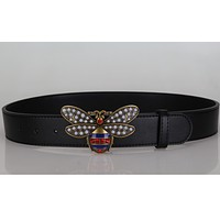 Bee Woman Fashion Smooth Buckle Belt Leather Belt Red