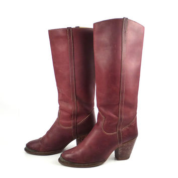 Zodiac Leather Boots Vintage 1970s Burgundy Stacked Heel Slouch Women's size  6 1/2