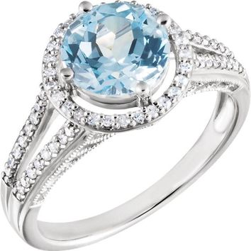 14K White Gold 8mm Round Sky Blue Topaz & Diamond Halo Double Shank Ring