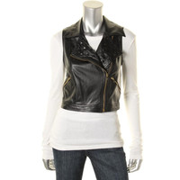 XOXO Womens Faux Leather Cut-Out Casual Vest
