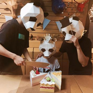 Creative Cardboard Handwork Panda Halloween Mask Paper Cosplay 3D DIY Funny Mask Fancy Party Decor Parent-child Fancy Best Gift