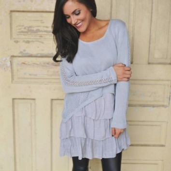 Ruffle Hem Layered Tunic- Grey
