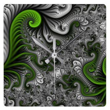 Fantasy World Abstract Fractal Art Square Wall Clock
