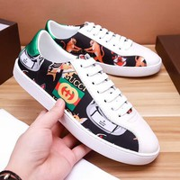 Gucci:2018 Hot New Fashion Men Casual Flat Sports Shoes Sneakers White/Black I-OMDP-GD