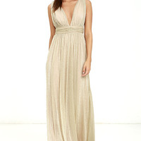 What a Treat Gold Maxi Dress