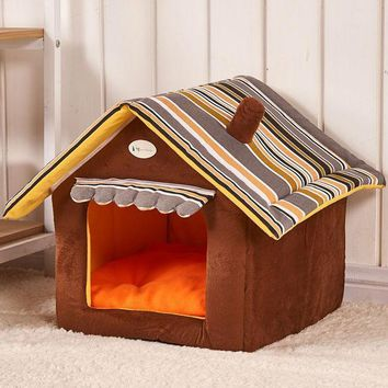 CREYYN6 New Fashion Striped Removable Cover Mat Dog House Dog Beds For Small Medium Dogs Pet Products House Pet Beds for Cat