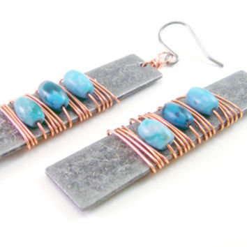 Metal and Copper Rustic Wire Earrings, Turquoise Jewelry, Mixed Metal Earrings, Wire Wrapped Jewelry, Industrial Earrings