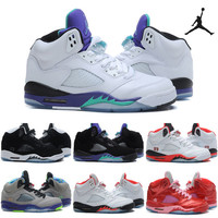 Nike Air Jordan 5 Basketball Shoes Men Women 2016 New Retro White PurpleSneakers Good Quality Original Discount Sports Shoes 5.5-12