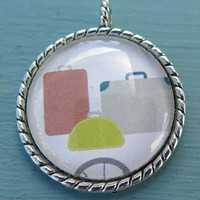 1PC - Suitcases Image - Round Silver Pendant - 30mm - Glass Pendant