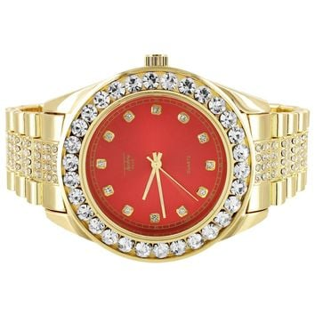 Men's Presidential Look Solitaire Bezel Red Face Iced Out Watch