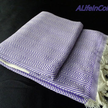 Purple colour herringbone patterned soft natural Turkish cotton bath towel, beach towel, sauna towel, travel towel, baby's blanket.