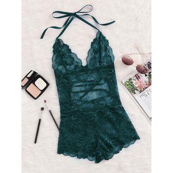 Tie Up Back Halter Neck Lace Sleep Romper