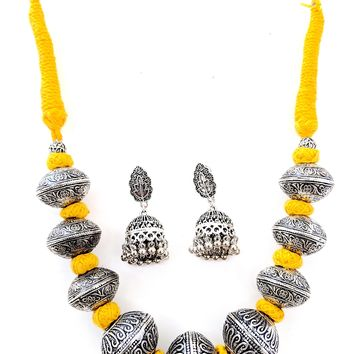 Bold Dori thread Oxidized Ball charm Necklace and Earring set