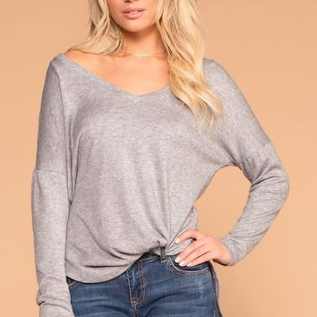 Cassie Heather Grey V-Neck Top