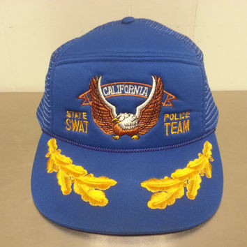 Vintage California State Swat Police Team Mesh Trucker Snapback Hat Scrambled Eggs Design Bald Eagle Cali Hipster Style Ironic