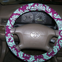 Damask in Plum and Aqua Steering Wheel Cover