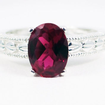 Ruby Oval Engraved Ring, 925 Sterling Silver, July Birthstone Ring, Oval Ruby Ring, Engraved Sterling Silver Ring, Filigree Ring