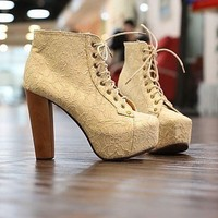 Lace fashion States with waterproof Taichung high heel shoes