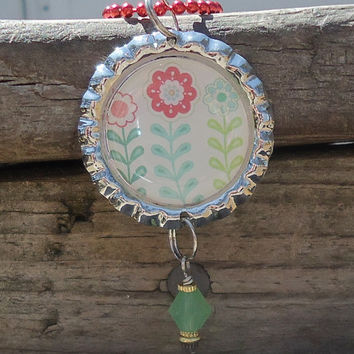 Three Blooming Spring Flowers Bottle Cap Charm Necklace