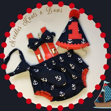 Boys Navy Blue Anchors Cake Smash, Nautical Cake Smash, Boys Nautical Cake Smash