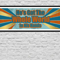He's Got The Whole World In His Hands - 12x36 LRG PRINT, Christian Wall Art, Scripture Art, Map Art, Church, Bible Art, world  map