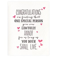 Lawfully Annoy Wedding Engagement Card